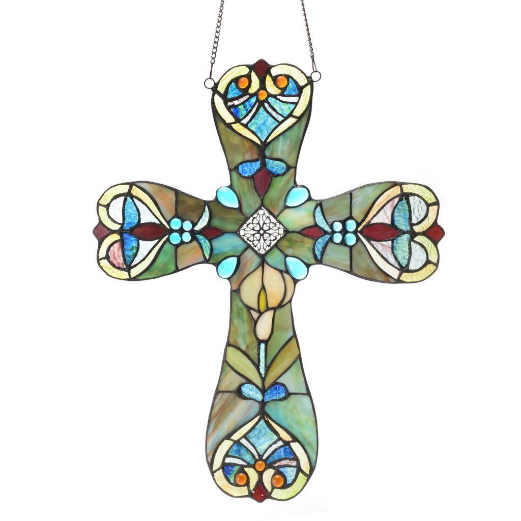 """445-348 - Tiffany-Style 20"""" Webbed Heart Stained Glass Abstract Cross Window Panel"""
