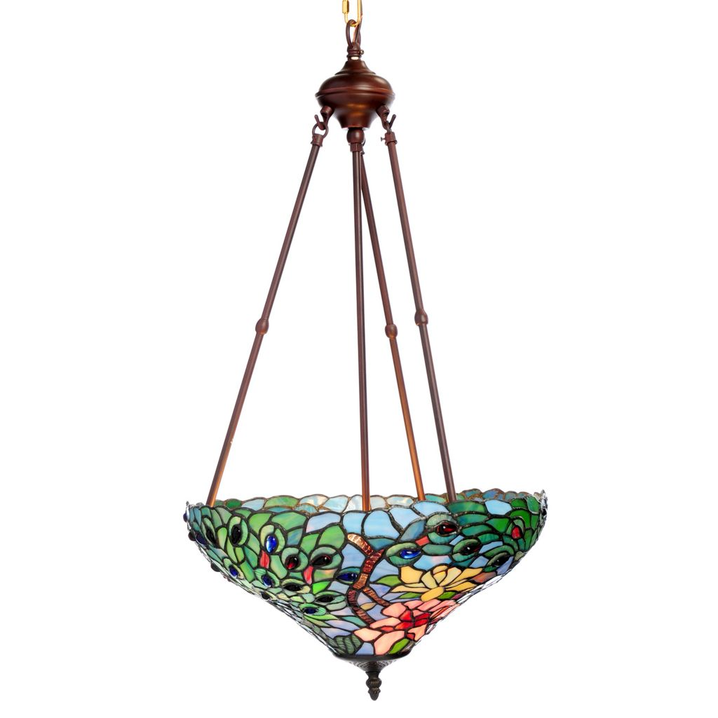 """445-358 - Tiffany-Style 32"""" Fantastic Feodora Stained Glass Inverted Hanging Lamp"""