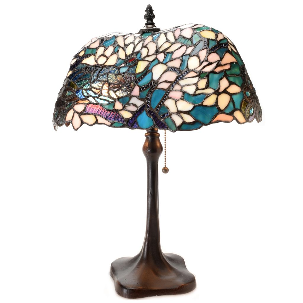 """445-359 - Tiffany-Style 19.75"""" Winter's Eve Stained Glass Table Lamp"""
