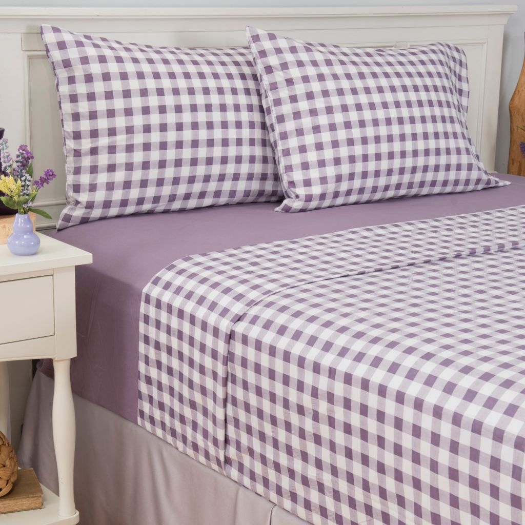 445-417 - Cozelle® Set of Two Microfiber Solid & Gingham Four-Piece Sheet Sets
