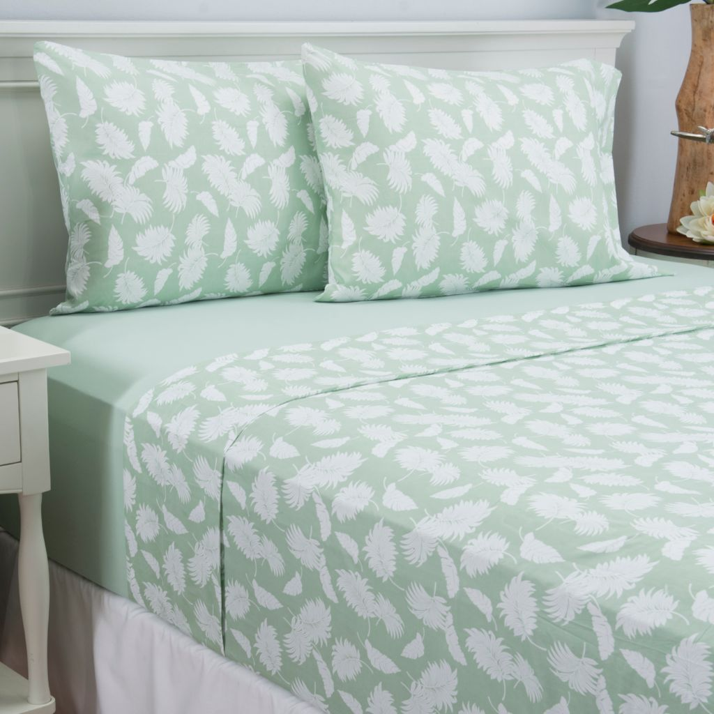445-418 - Cozelle® Set of Two Microfiber Solid & Tropical Four-Piece Sheet Sets