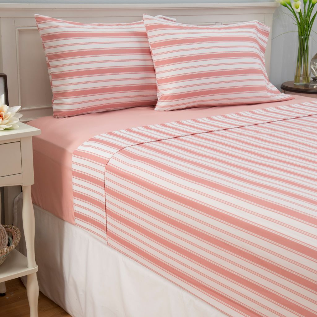445-419 - Cozelle® Set of Two Microfiber Solid & Striped Four-Piece Sheet Sets