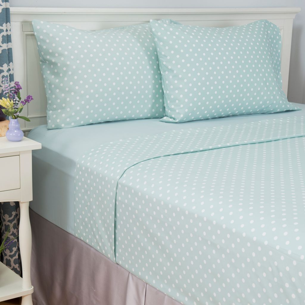 445-426 - Cozelle® Set of Two Microfiber Solid & Polka Dot Four-Piece Sheet Sets