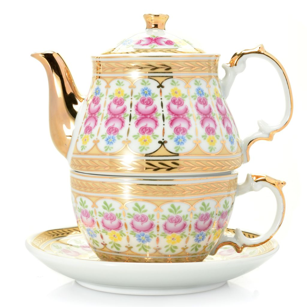 445-429 - Sorelle® Four-Piece Porcelain 24K Gold Accented Tea-for-One Set