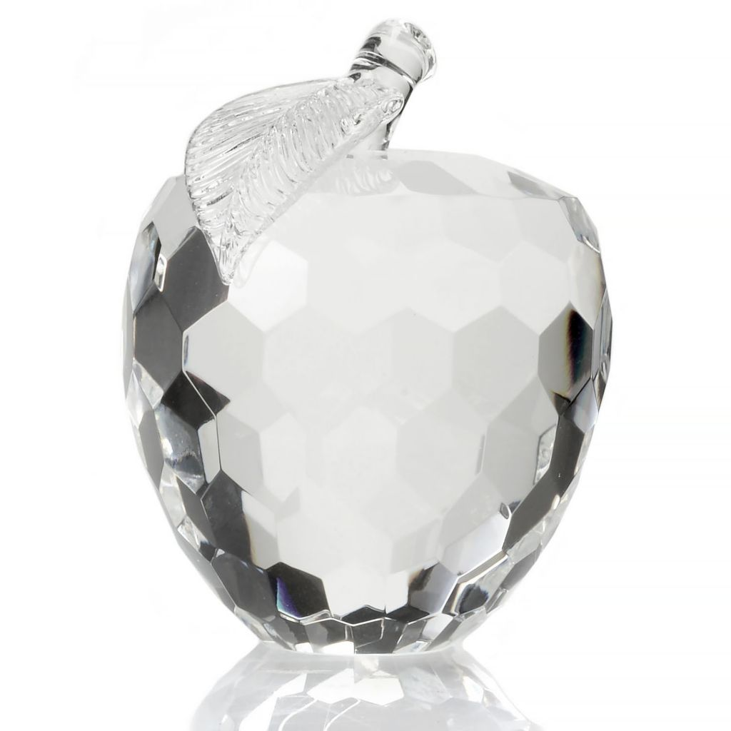 "445-432 - Sorelle® 4.5"" Crystalline Hand-Crafted Faceted Apple Paperweight"