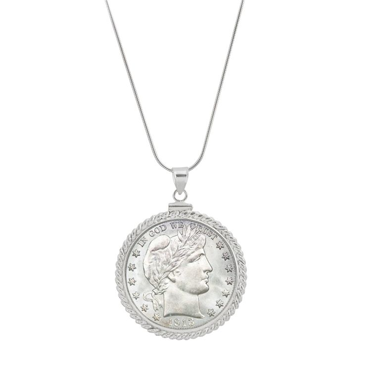 "445-463 - Sterling Silver Half Dollar Coin Rope Edge Pendant w/ 18"" Chain"