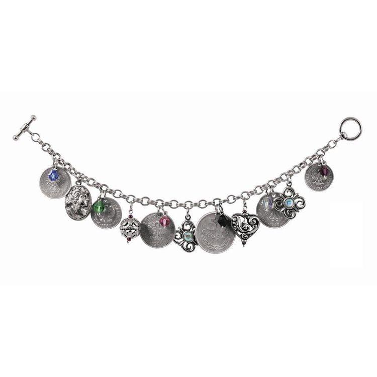 "445-465 - Silver-tone 8.5"" Polish Coin Charm Bracelet"