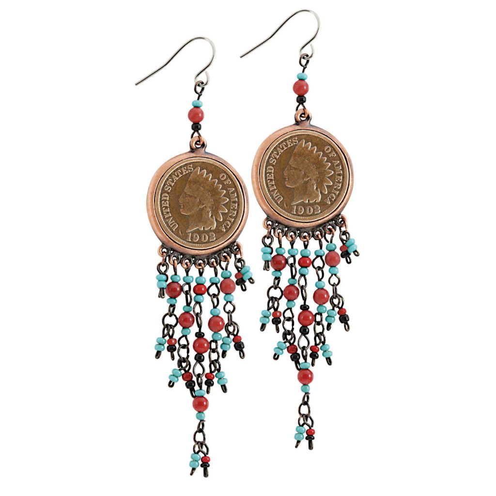 "445-466 - 3.25"" Indian Head Penny Coin Beaded Chandelier Earrings"