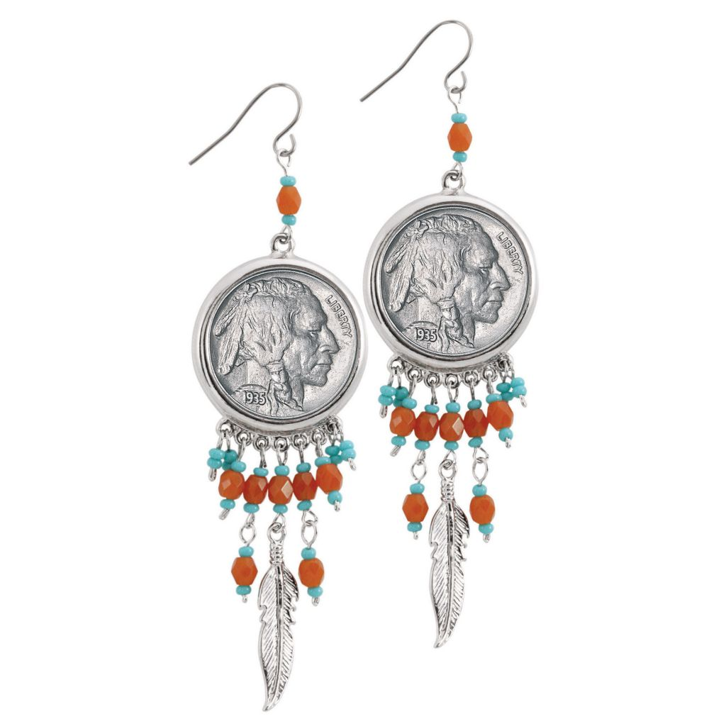 "445-467 - Silver-tone 3"" Buffalo Nickel Coin Beaded Feather Earrings"