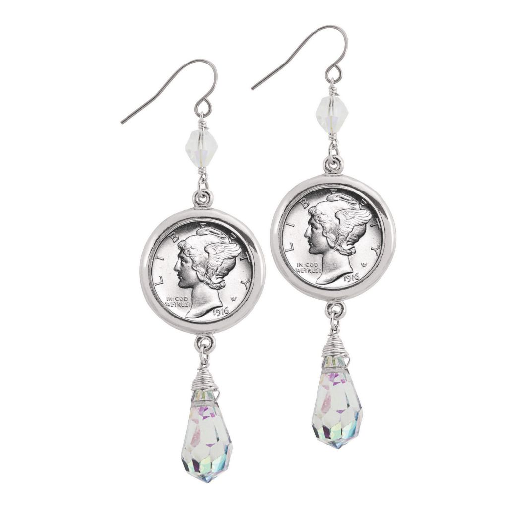"445-468 - Silver-tone 2.5"" Mercury Dime Coin Crystal Drop Earrings"