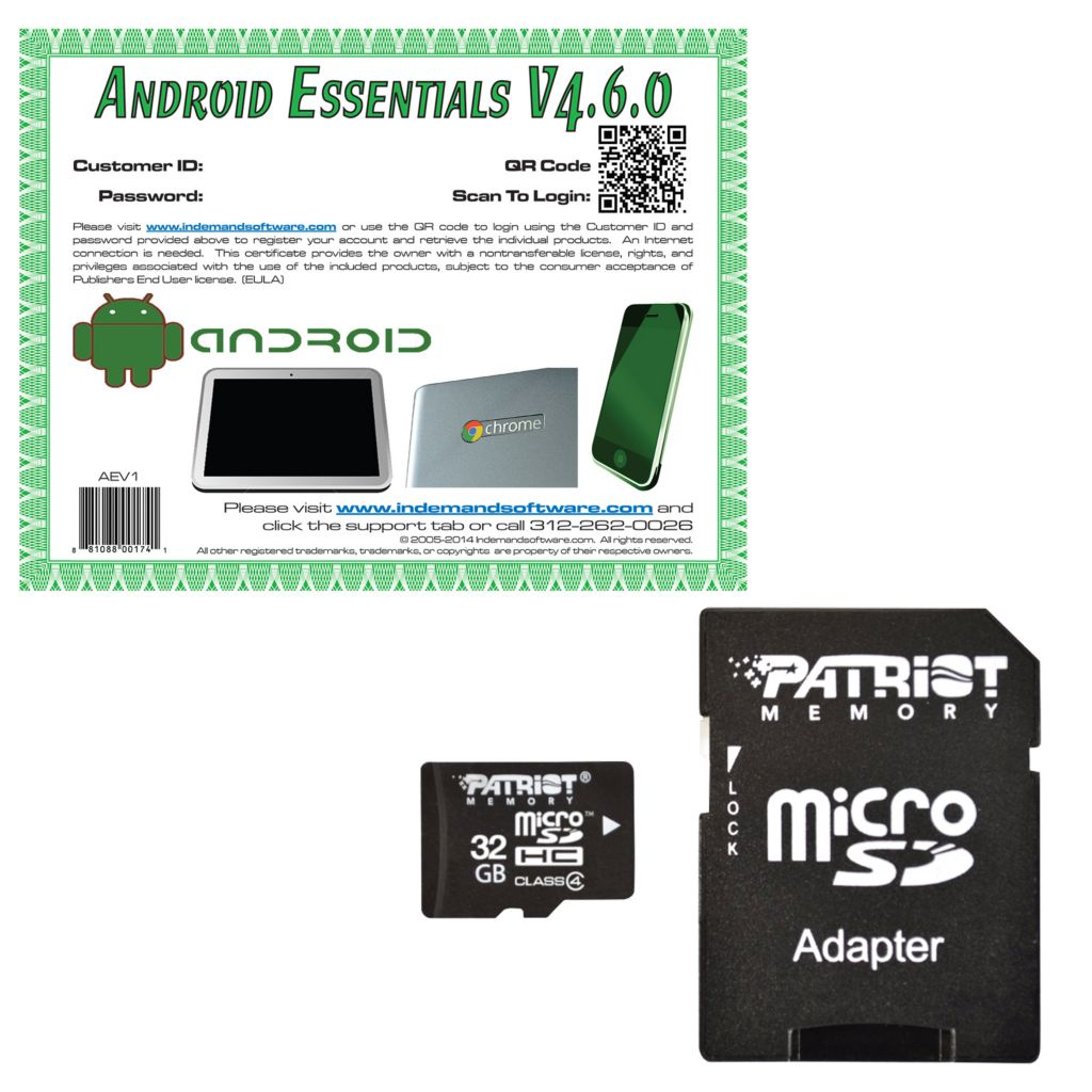 445-470 - 8GB, 16GB or 32GB MicroSD Card & Adapter w/ Android Essentials Software