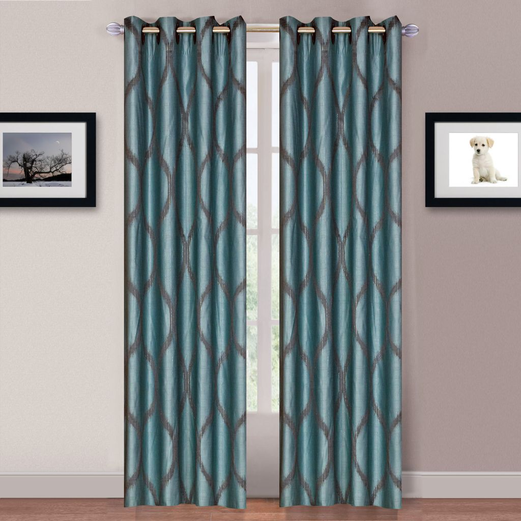 "445-504 - Lavish Home Set of Two 84"" Metallic Curtain Panels w/ Grommets"
