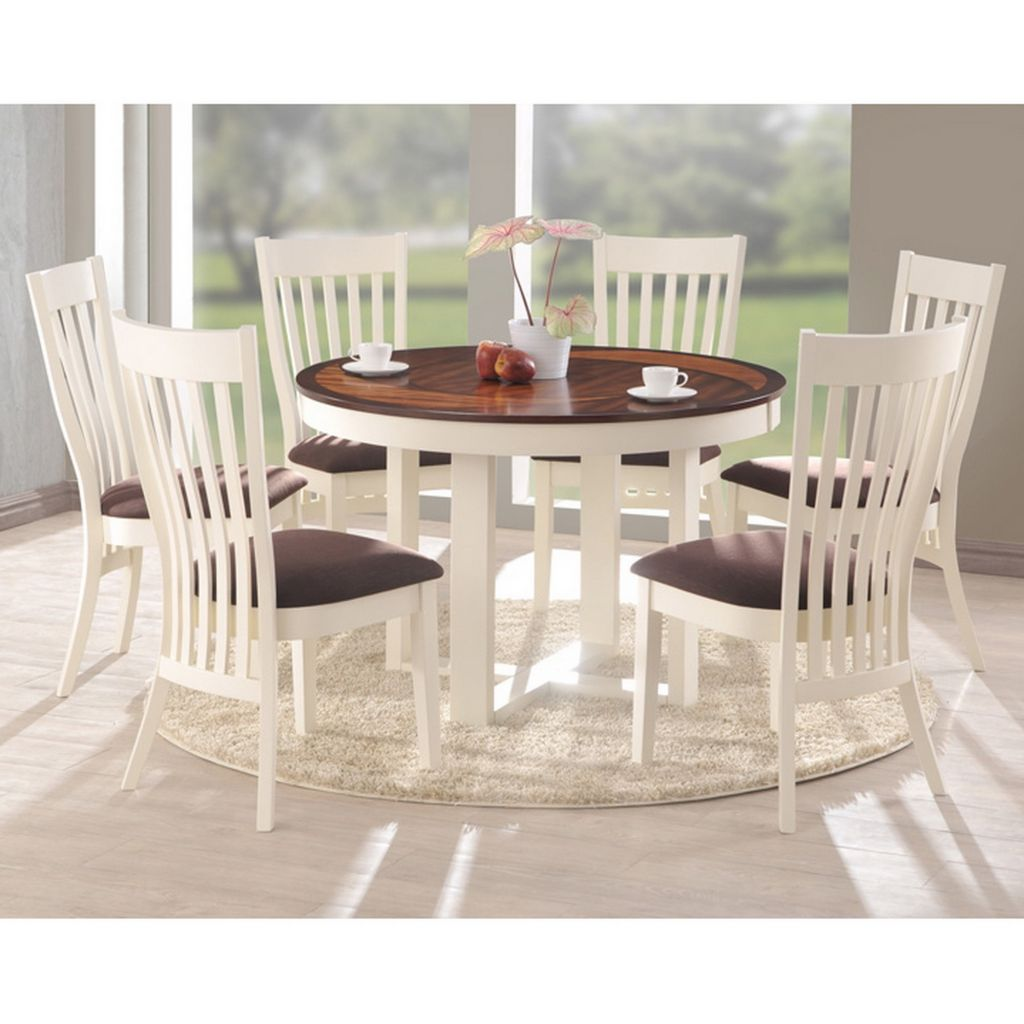 445-589 - Shippen Seven-Piece White & Brown Modern Dining Set