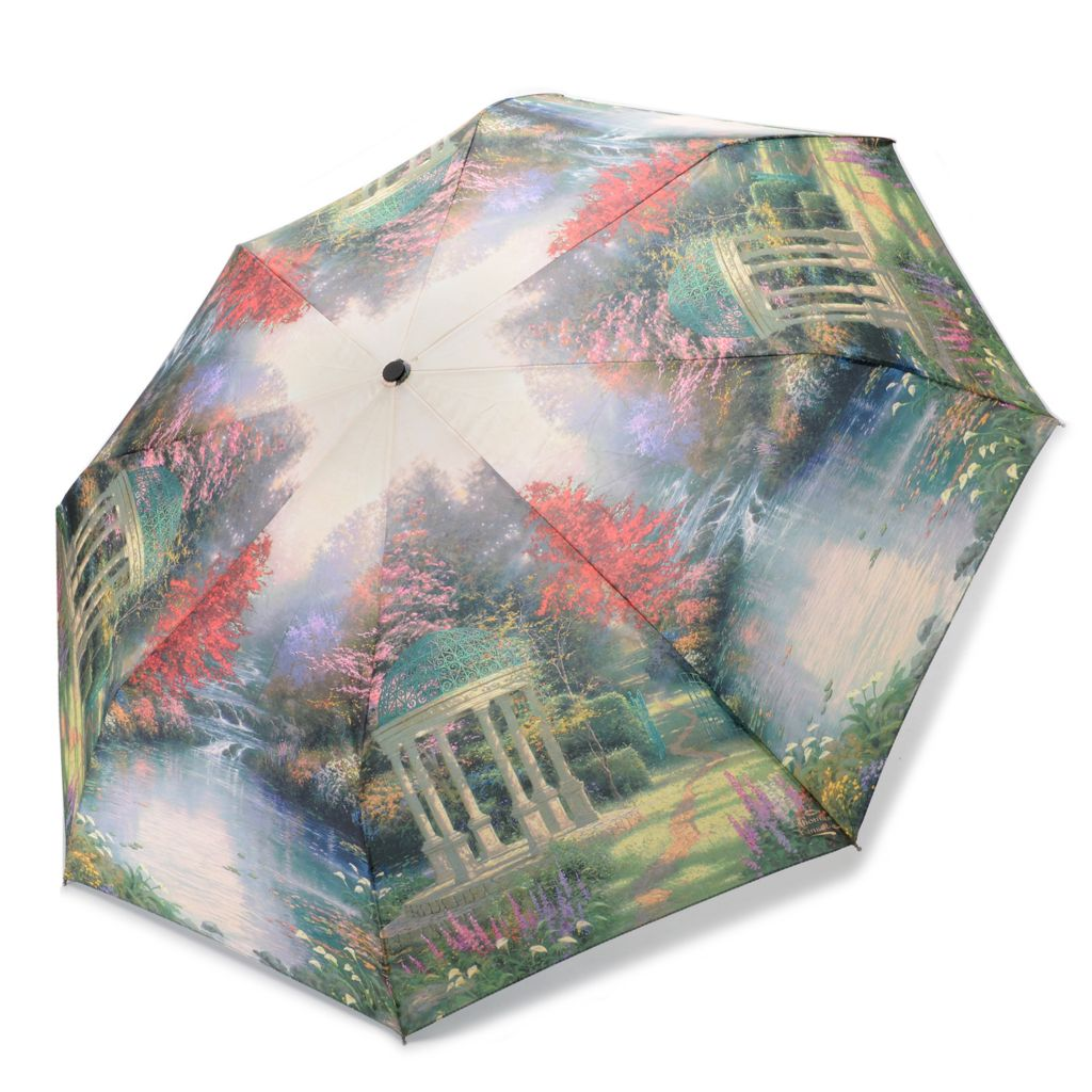 "445-591 - Thomas Kinkade ""Garden of Prayers"" Water Resistant Umbrella"