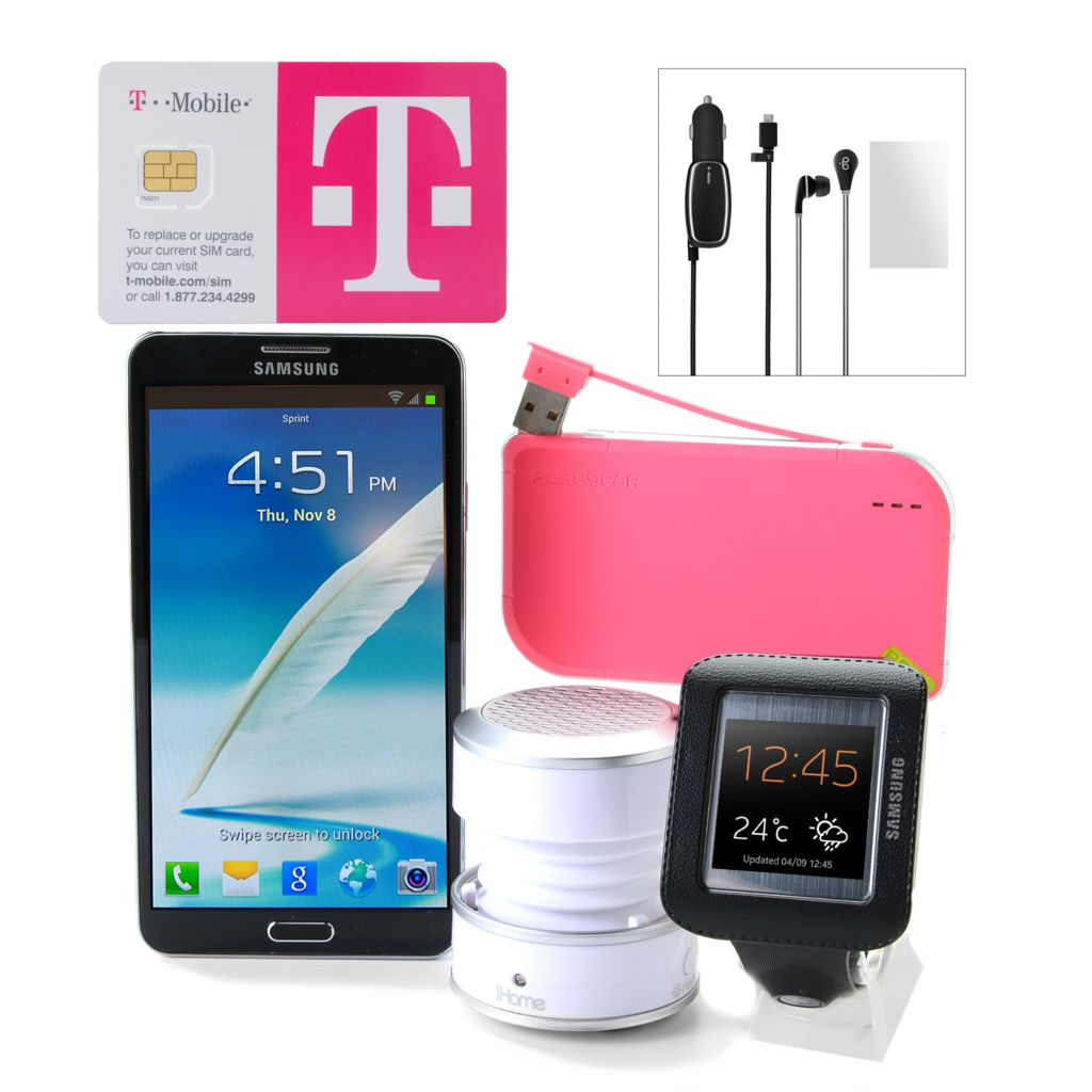 445-602 - Samsung Galaxy Note 3 4G LTE Phone w/ T-Mobile No Annual Service Contract & Optional Galaxy Watch