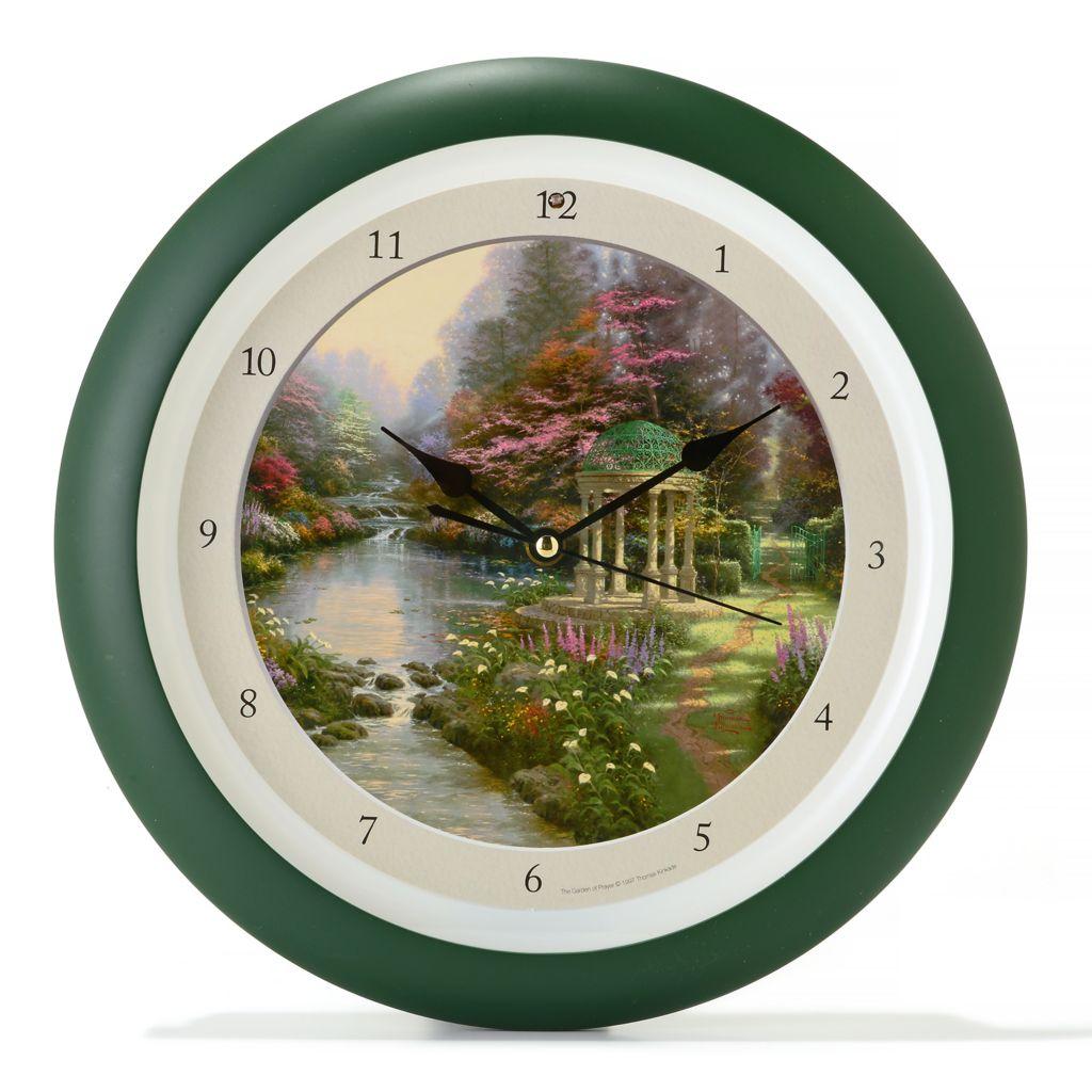"""445-603 - Thomas Kinkade """"Garden of Prayer"""" Nature Sounds Wall Clock"""