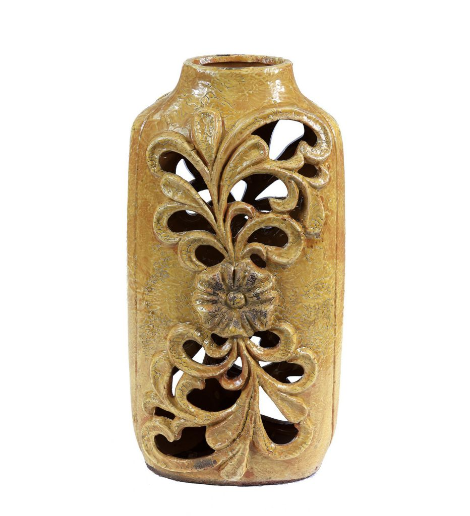 "445-680 - Privilege 12"" or 15"" Ceramic Scrollwork Cut-out Vase"
