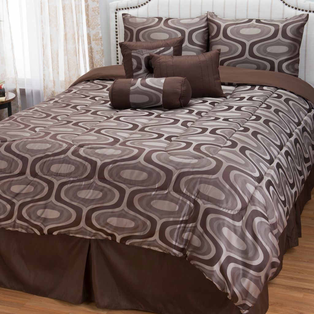 445-699 - North Shore Linens™ Abstract Jacquard Seven-Piece Bedding Ensemble