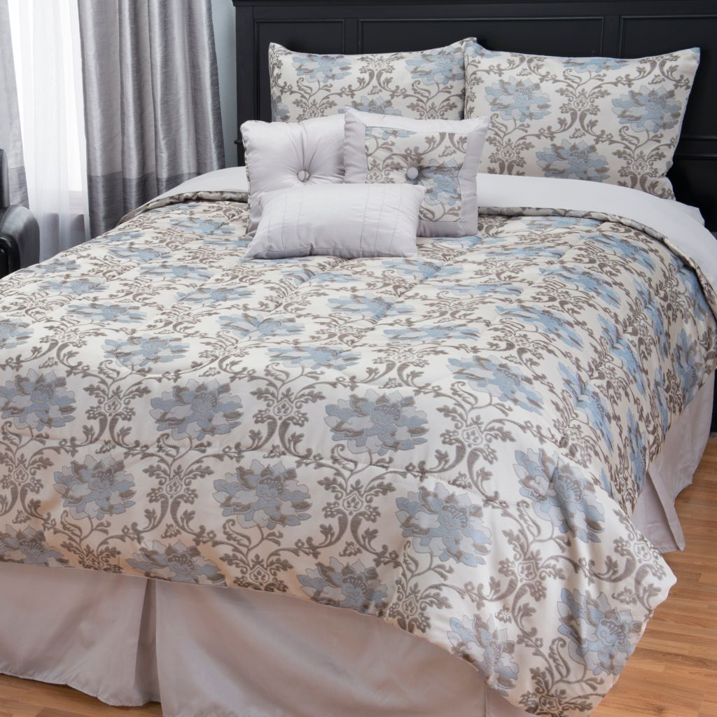 445-700 - North Shore Linens™ Floral Jacquard Seven-Piece Bedding Ensemble
