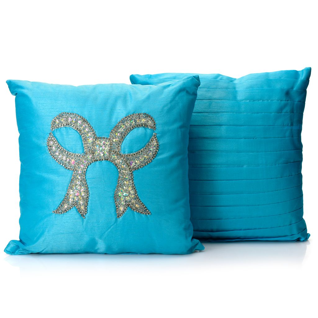 "445-705 - North Shore Linens™ Set of Two 16"" x 16"" Embellished Decorative Pillows"
