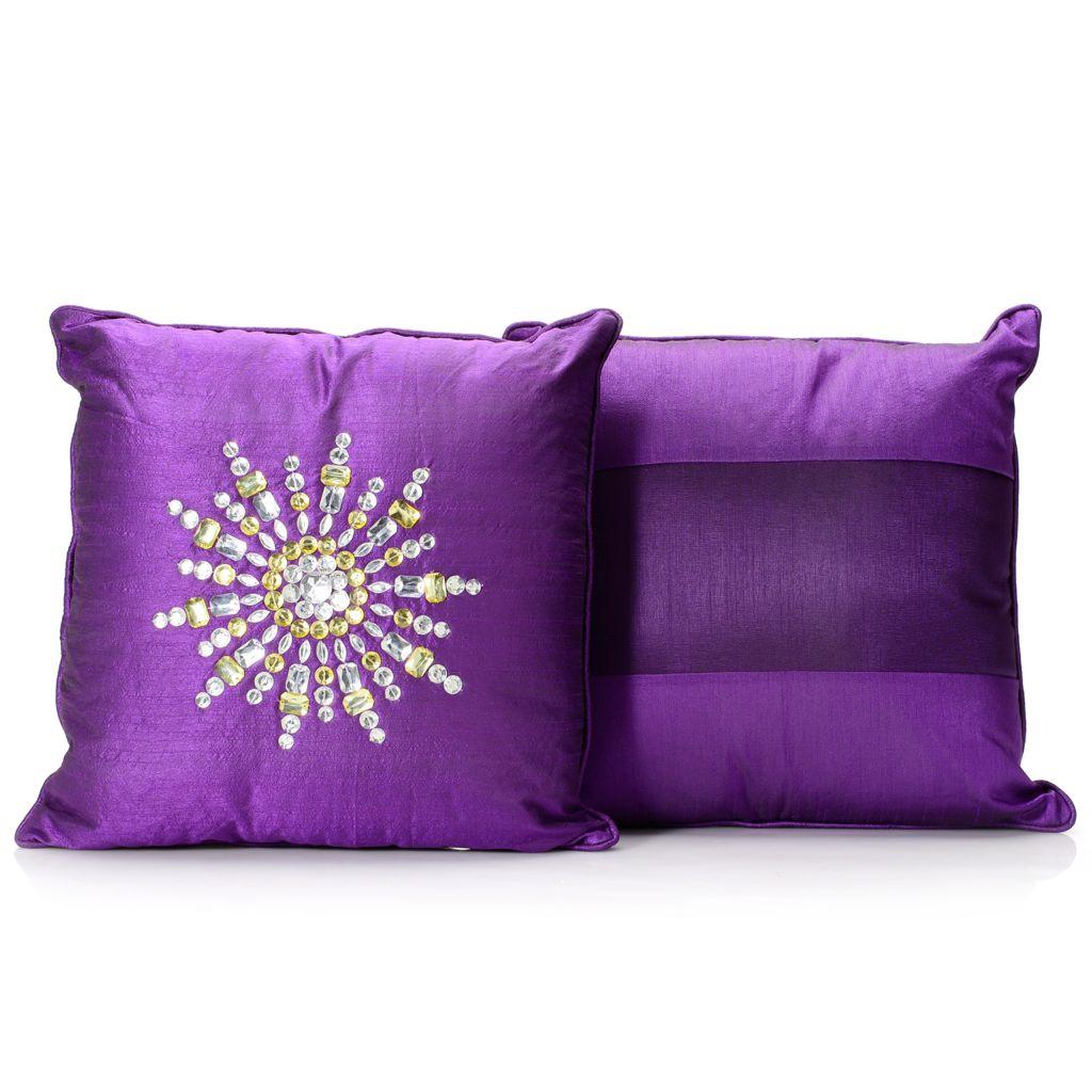 "445-709 - North Shore Linens™ 16"" x 16"" Taffeta Square Decorative Pillow Pair"