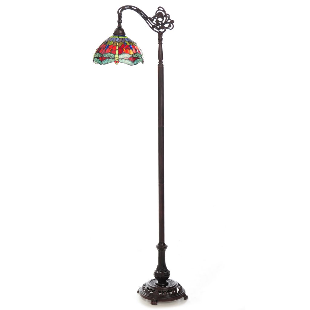 "445-714 - Tiffany-Style 69"" Dragonfly Stained Glass Floor Lamp"