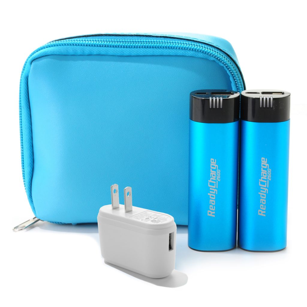 445-832 - ReadyCharge™ Set of Two 2600mAh Portable Chargers w/ USB Cable & Wall Adapter