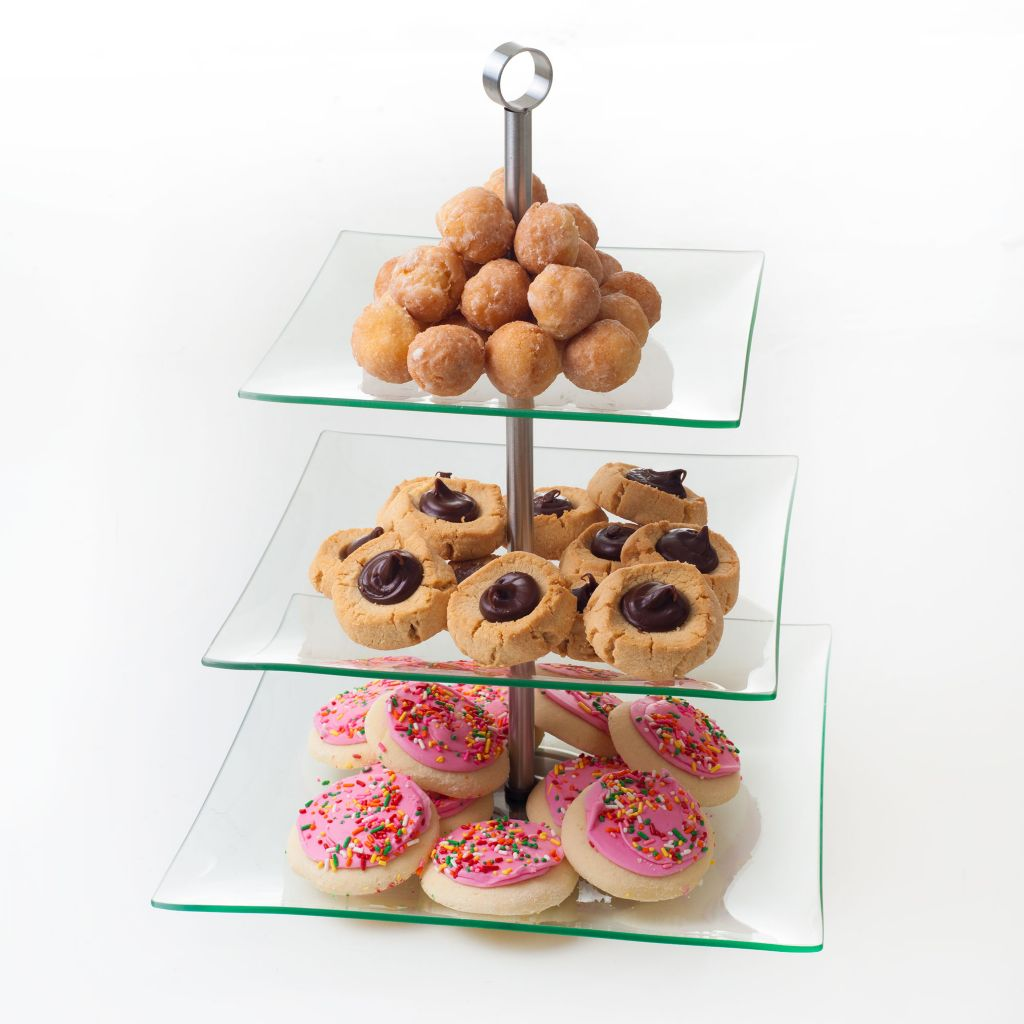 445-857 - Chef Buddy™ Three-Tier Square Glass Buffet & Dessert Serving Tray