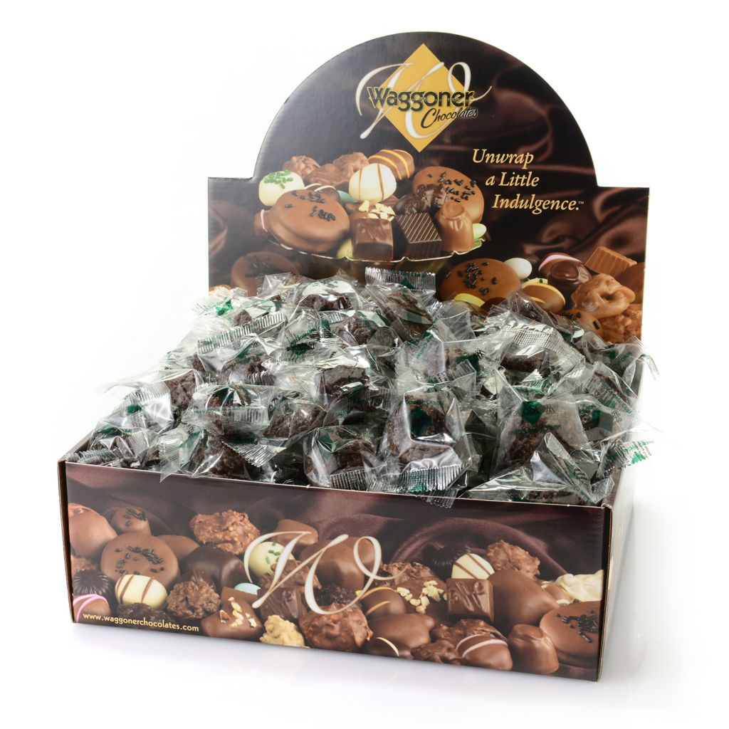 445-883 - Waggoner Chocolates 4 lb Individually Wrapped Dark Chocolate Mint Cookie Clusters