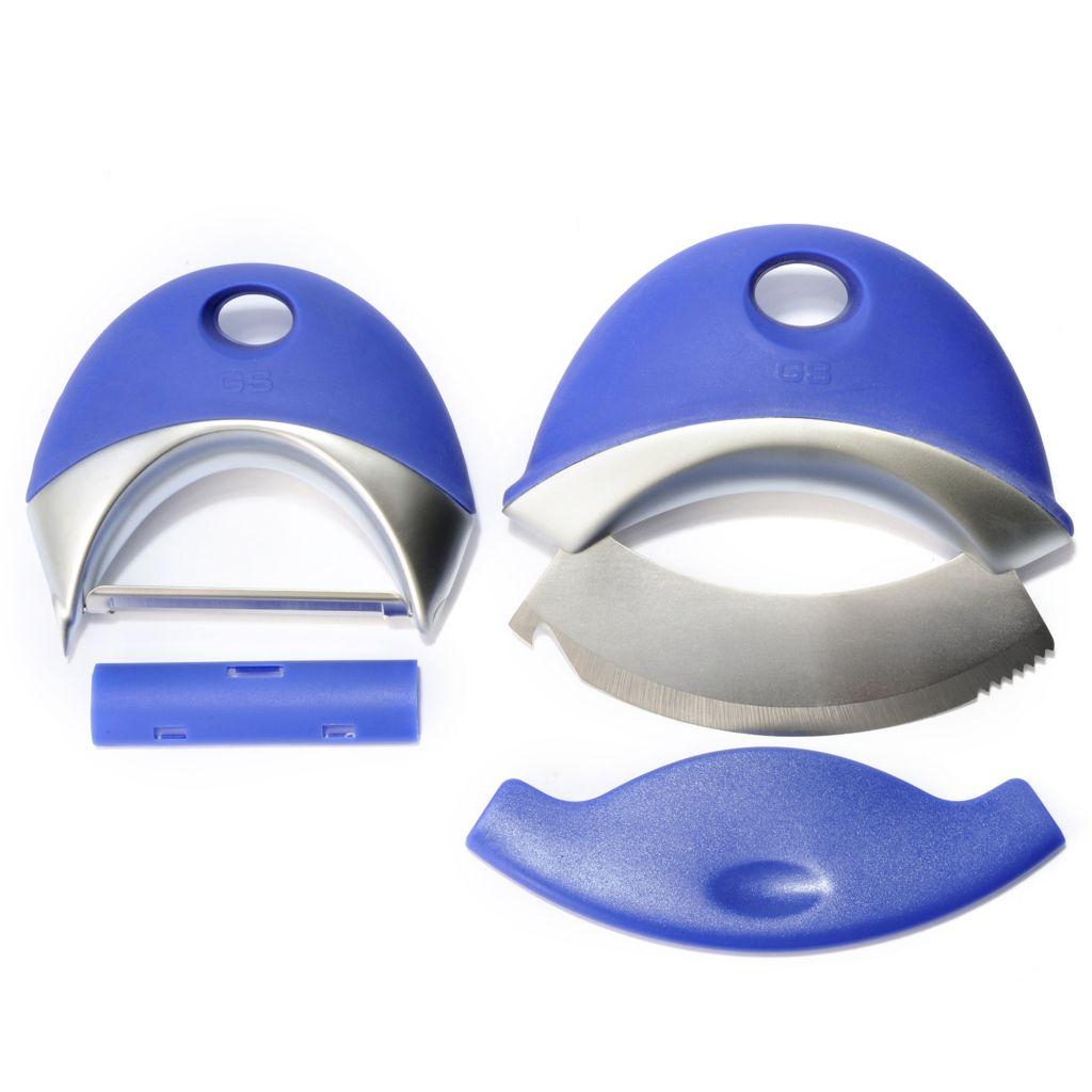 445-889 - Compactables™ Two-Piece Stainless Steel Vegetable Peeler & Mezzaluna Set