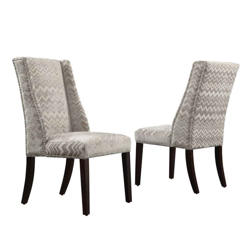 "445-996 - HomeBasica Set of Two 40.5"" Upholstered Wingback Hostess Chairs"