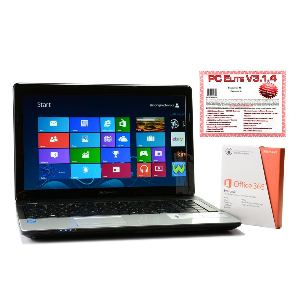 "446-000 - Gateway 15.6"" LED 4GB RAM/500GB HDD Windows® 8 Wi-Fi Notebook w/ Office & PC Elite Suite"