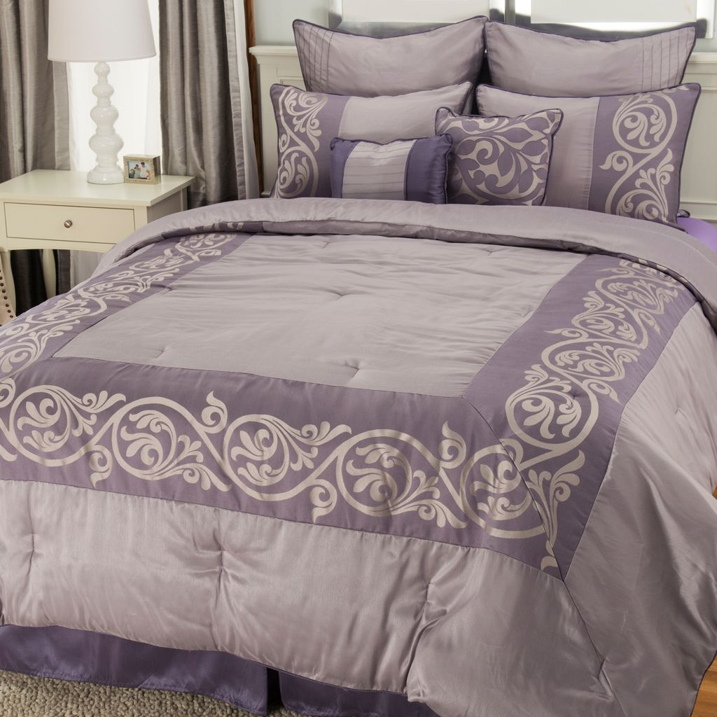 446-002 - North Shore Linens™ Leaf Jacquard Eight-Piece Bedding Ensemble