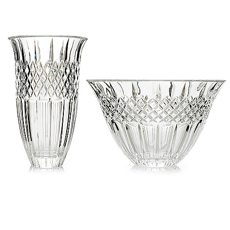 446-040 - Marquis by Waterford Shelton Two-Piece Crystalline Flared Bowl & Vase Set