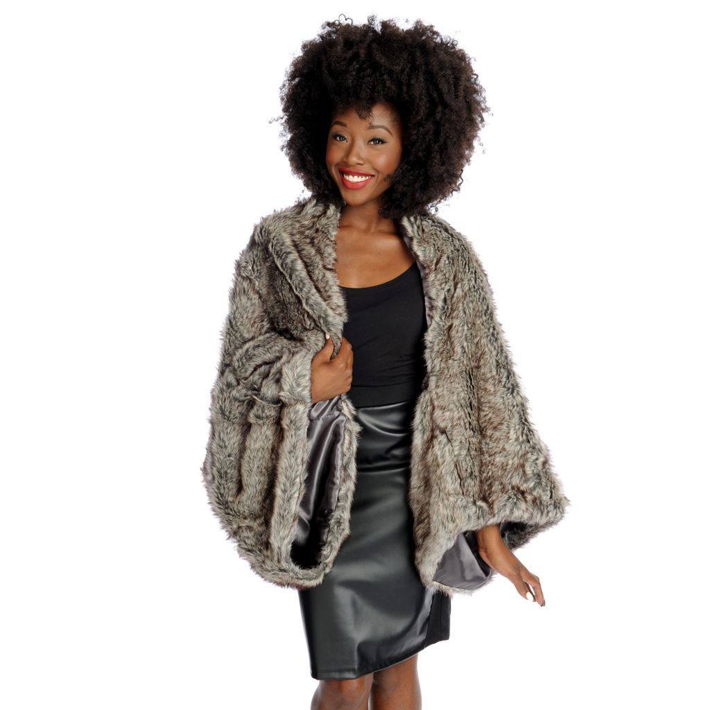 "446-049 - North Shore Linens™ 62"" x 18"" Faux Fur Shrug"