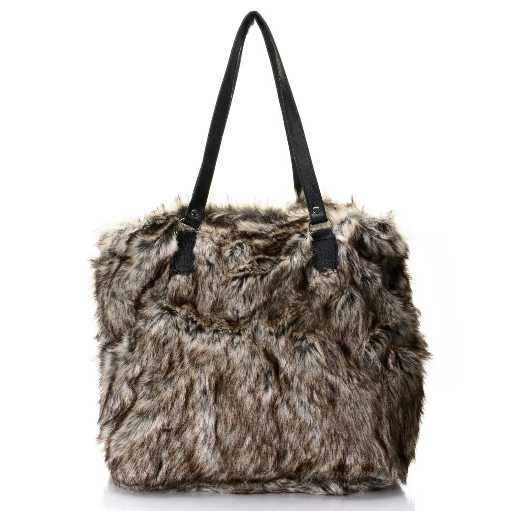 446-050 - North Shore Linens™ Faux Fur Double Handle Zip Top Tote Bag