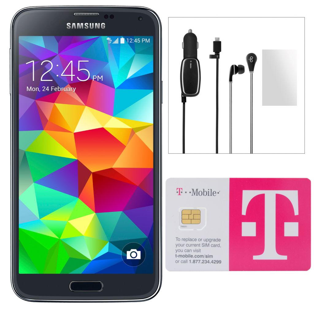 446-076 - Samsung Galaxy S5 4G LTE Smartphone w/ 1 Month $50 T-Mobile Simple Choice Service