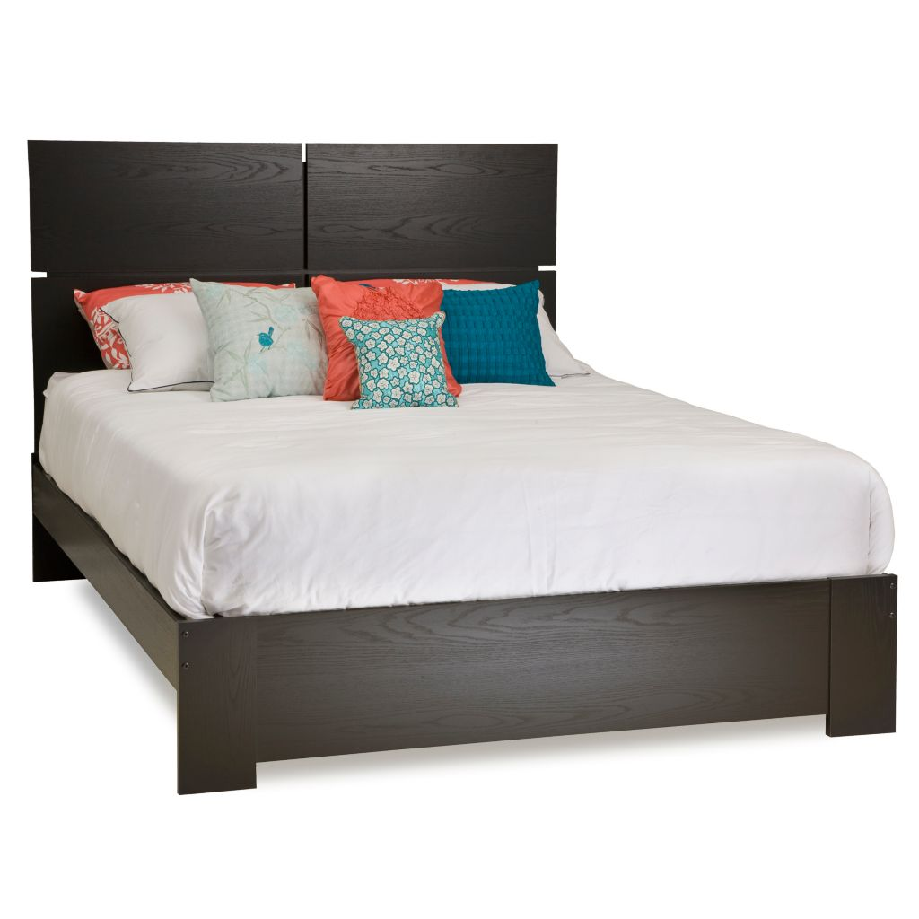 446-081 - South Shore® Mikka Collection Black Oak Queen Platform Bed, Headboard or Set