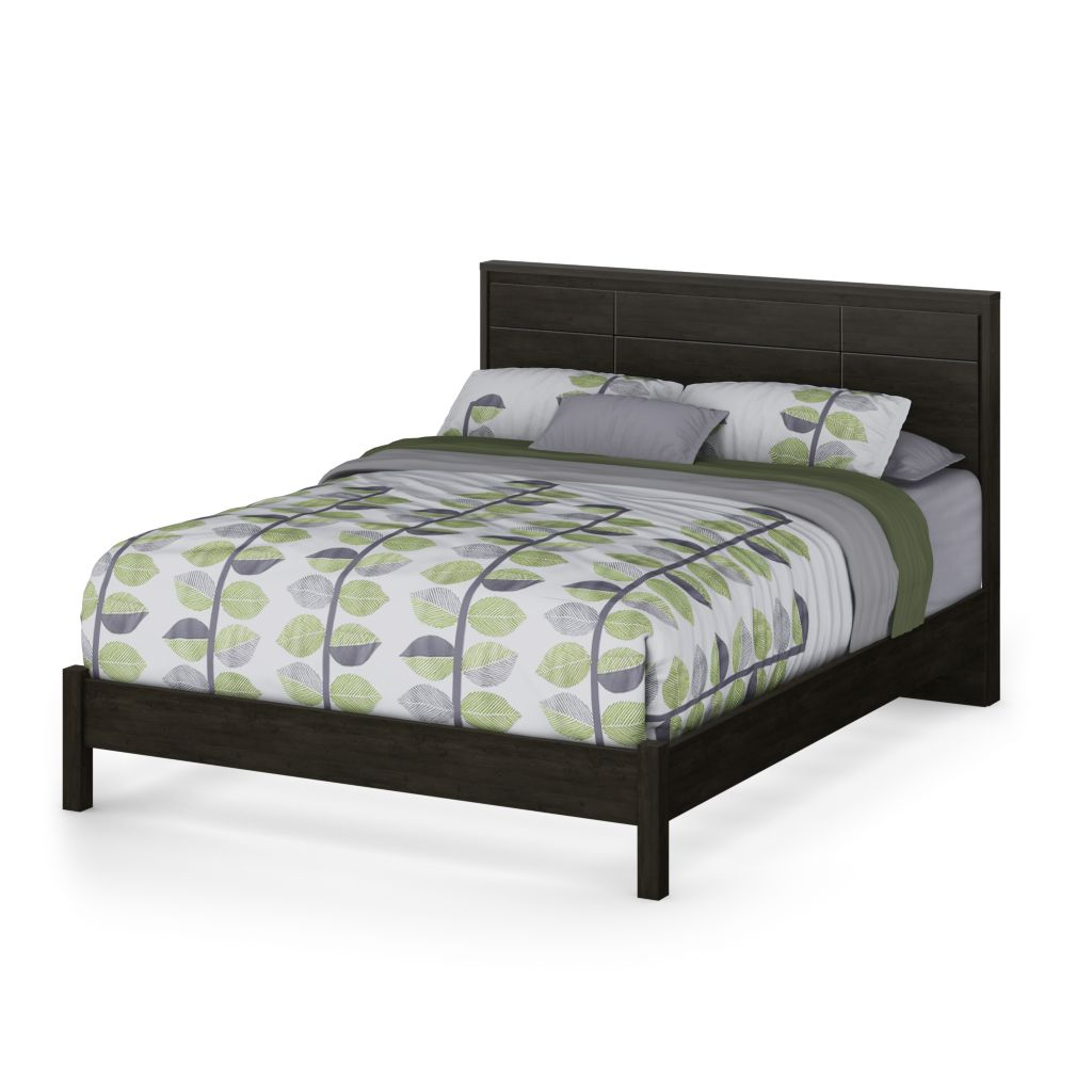 446-085 - South Shore® Gravity Ebony Black Queen Platform Bed, Headboard or Set