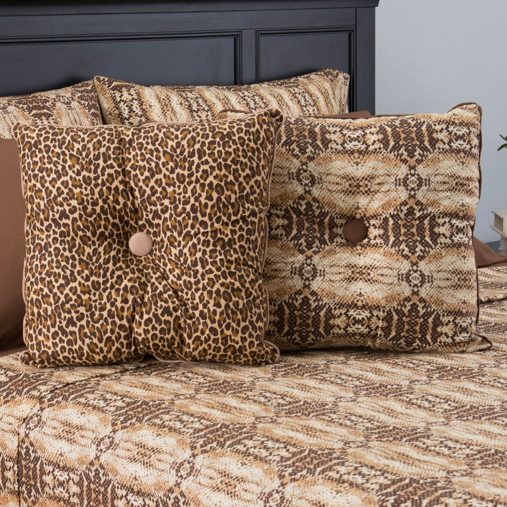 "446-169 - Cozelle® Set of Two 18"" x 18"" Reversible Animal Print Decorative Pillows"
