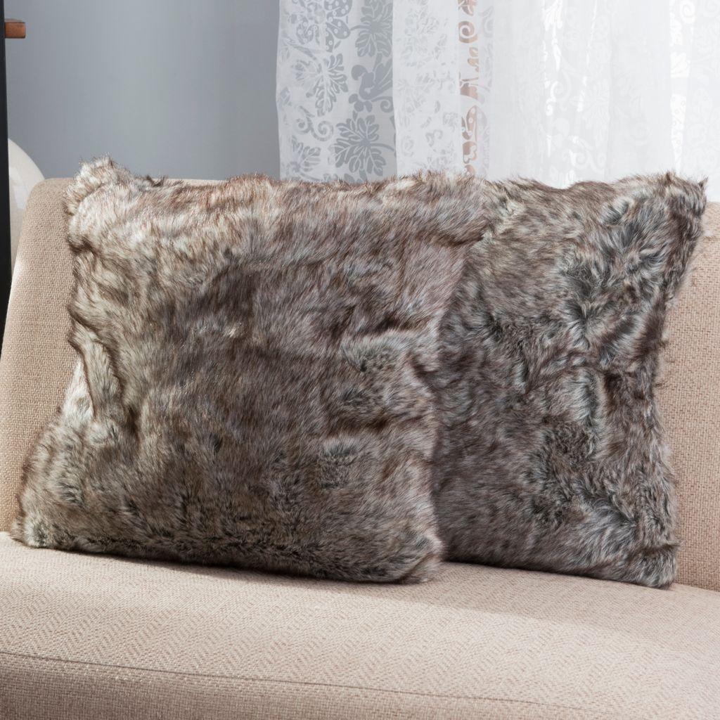 """446-171 - Cozelle® Set of Two 18"""" x 18"""" Faux Fur Decorative Pillows"""