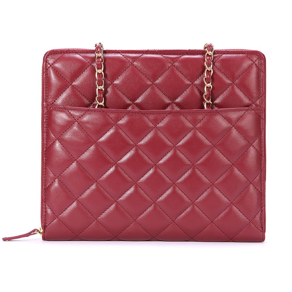 446-175 - EcoStyle Faux Leather Double Handle Quilted Zip Around iPad Mini Case