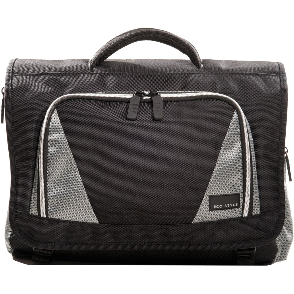 "446-184 - EcoStyle Sports Voyage Black Messenger Case w/ Strap for 16.4"" Laptop"