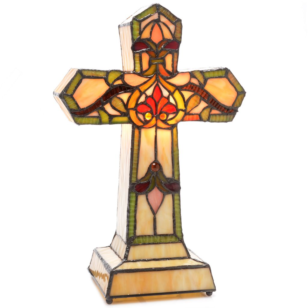 "446-256 - Tiffany-Style 13.5"" Brianne Fleur-de-Lis Stained Glass Cross Accent Lamp"