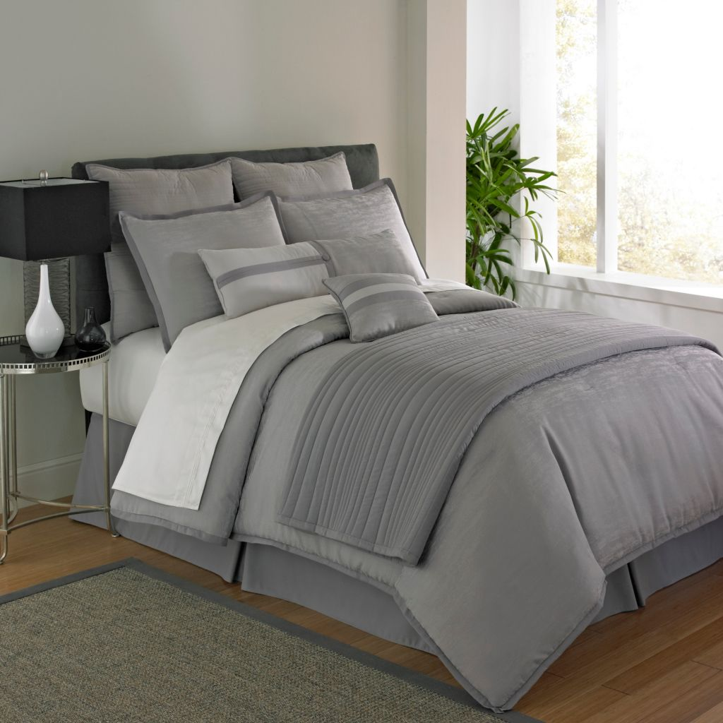 446-267 - Five-Piece Grey Woven Textured Comforter Set
