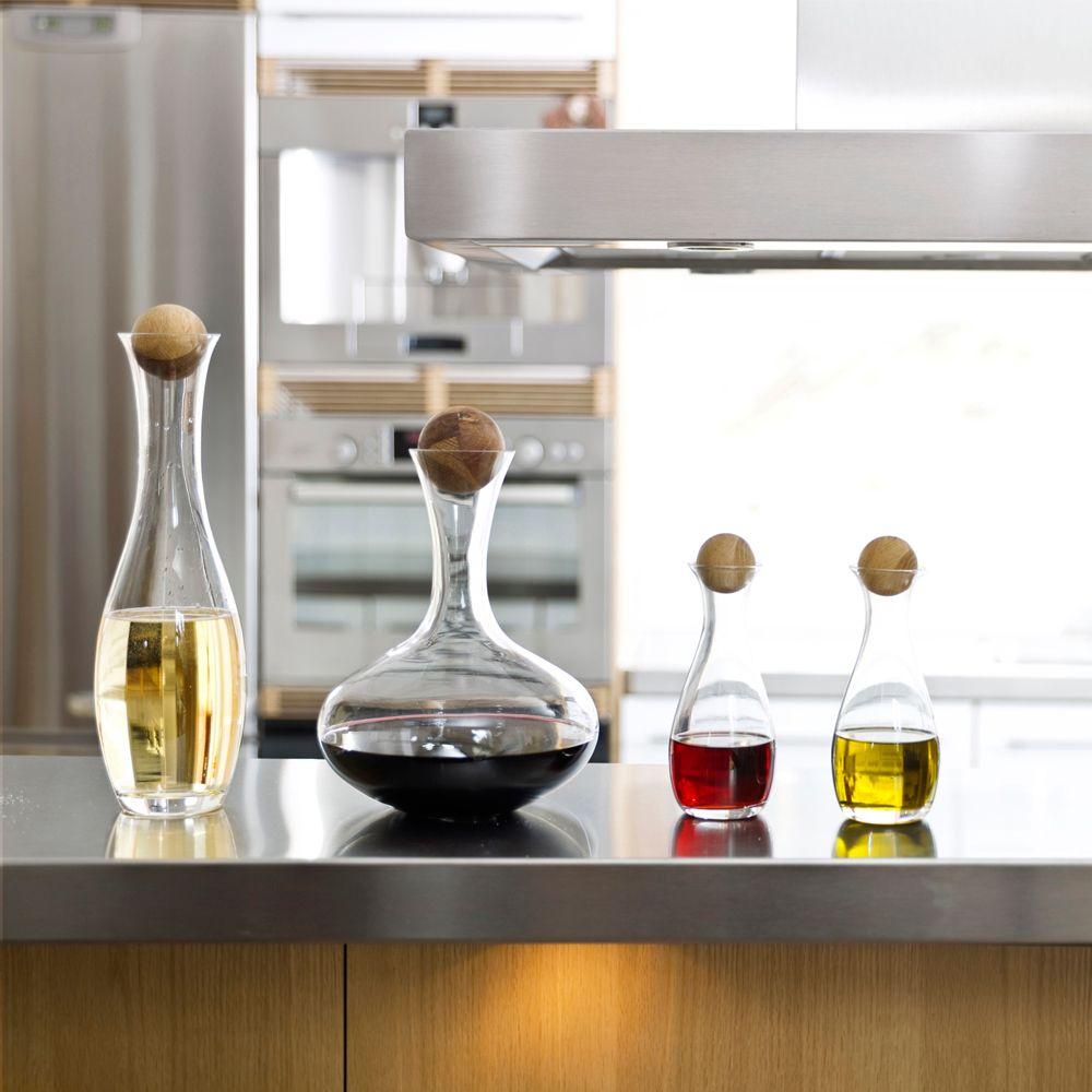 446-287 - Sagaform Four-Piece Glass Oval Decanter & Oil Bottle Set w/ Oak Stoppers