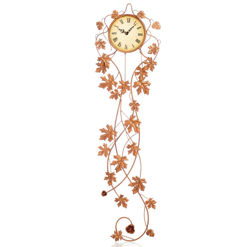 "446-407 - Style at Home with Margie 47"" Golden Maple Wall Clock"