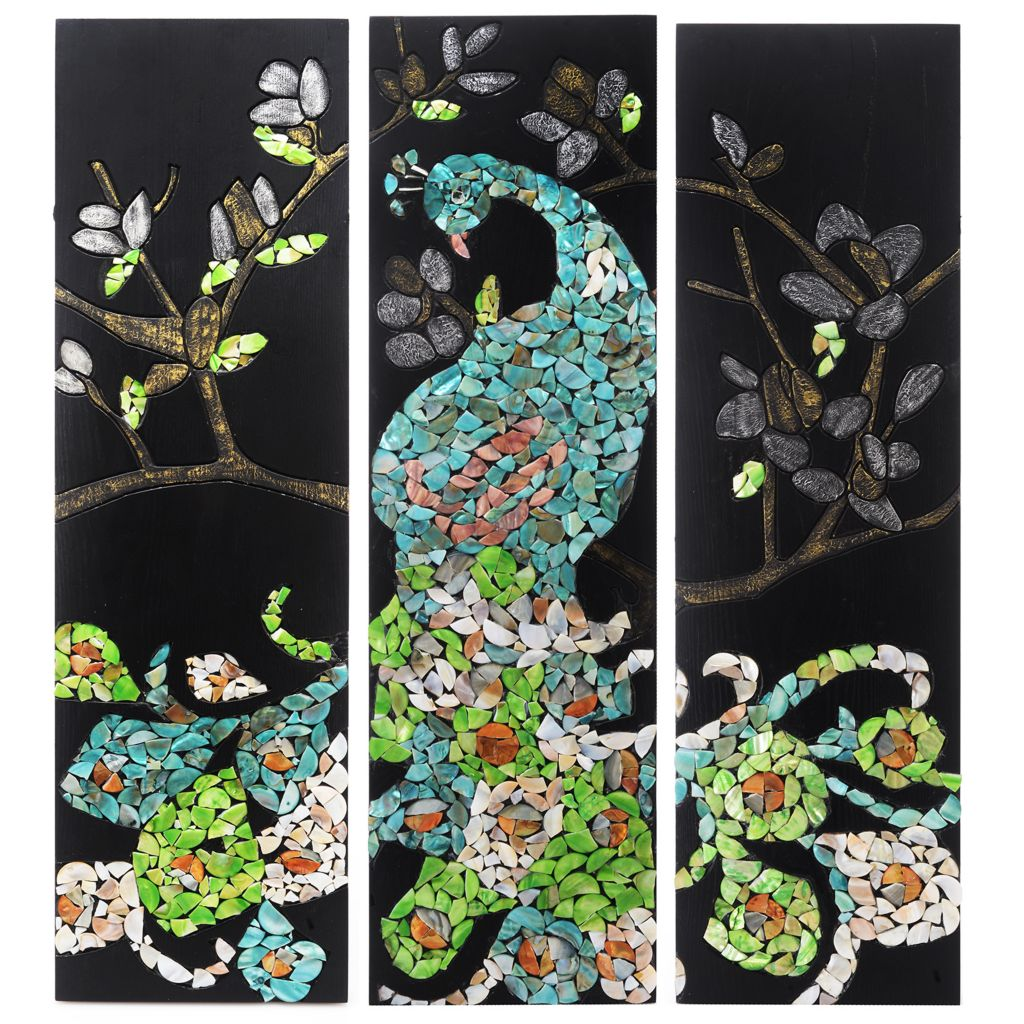 """446-408 - Style at Home with Margie 30"""" Mosaic Shells Peacock Triage Wall Decor"""