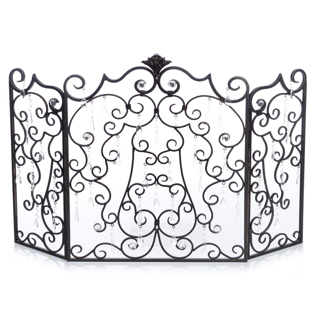 "446-409 - Style at Home with Margie 44"" Jeweled Scrolls Decorative Iron Fireplace Screen"