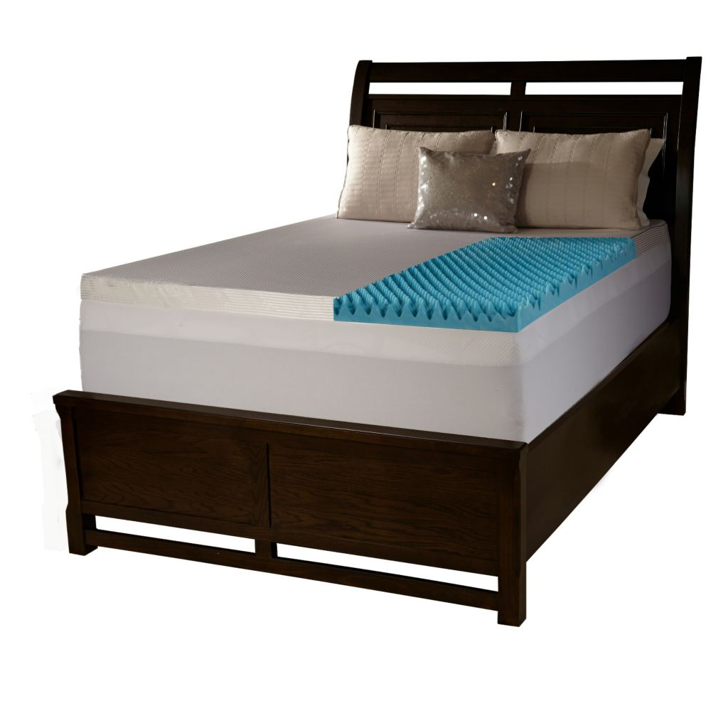 "446-513 - ComforPedic from Beautyrest 4"" Textured Gel Memory Foam Mattress Topper w/ Polysilk Cover"